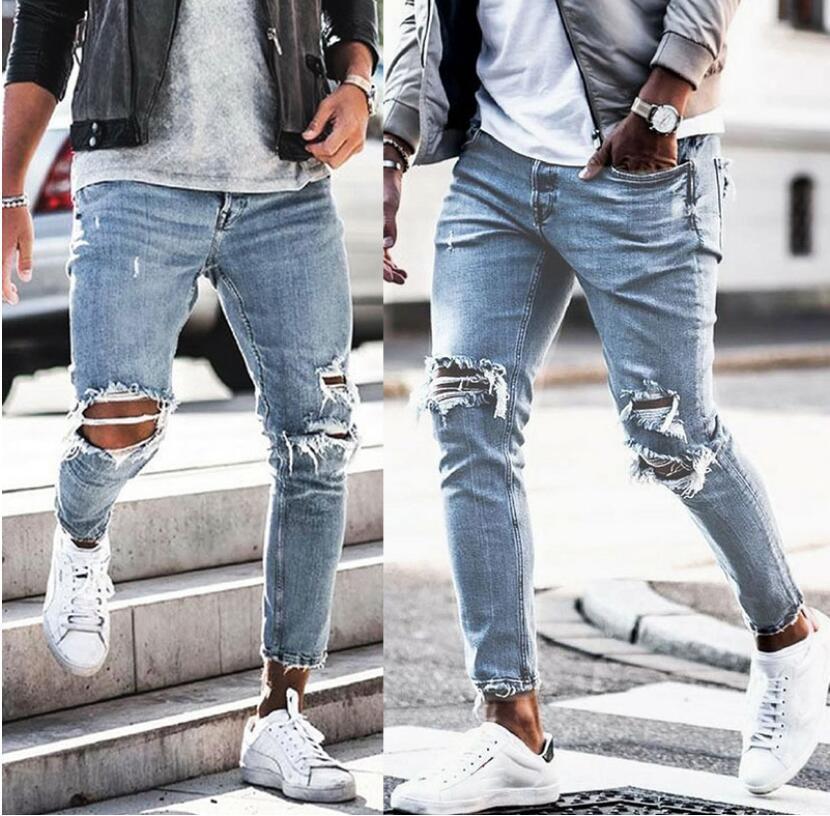 Mens de desenhista jeans rasgado motociclista fit motocicleta motociclistas denim para homens s moda mans calças pretas hip-hop jean calças