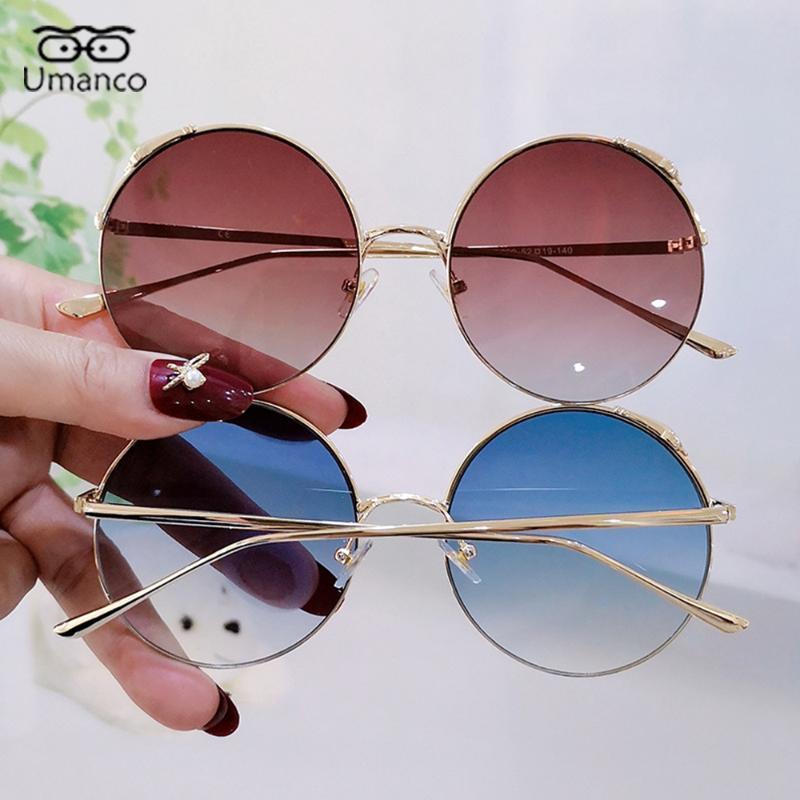 Vintage Frauen Sonnenbrille Runde mit Metallrahmen Gradienten Sonnenbrille Weibliche Damen Männliche Retro Brillen Straße Strand Ozean