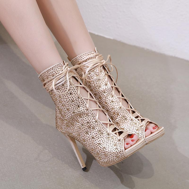 Sandales de la cheville Sandales Femmes High Talons Été Sexy Peep Toe Toe Chaussures Chaussures Crystal Dacette Sandalie mince taille 35-40