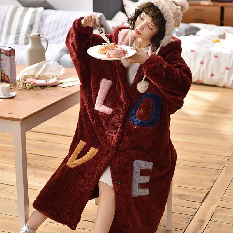 귀여운 귀 잠옷 두꺼운 플란넬 열 여성 나이트 가운 대형 느슨한 목욕 가운 겨울 긴 드레싱 가운 여성의 홈웨어