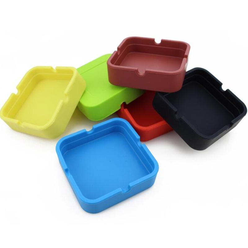 Food-Grade Silicone Square Ashtrays Silica OEM Custom Logo 9 Pure Colors Tobacco Dry Herb Smoking Ash Trays Container Holder Bendable Soft Portable