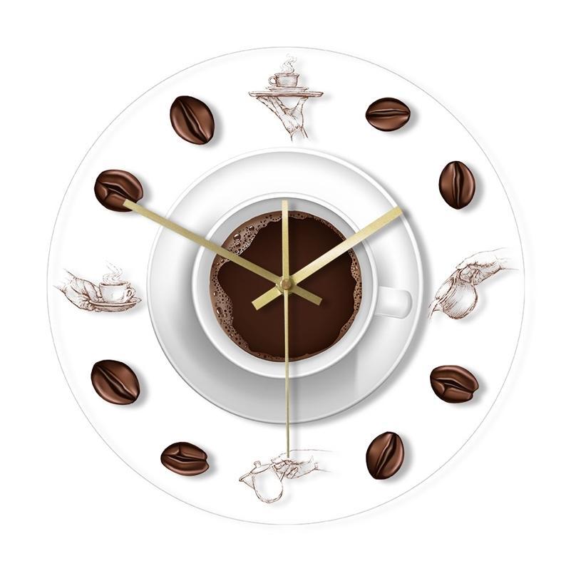 Cafetière Café Beans Horloge murale avec rétroéclairage Moderne Design Modern Cafe Tasse à café Reloj de Pared Cuisine Arrylique Watch 210325