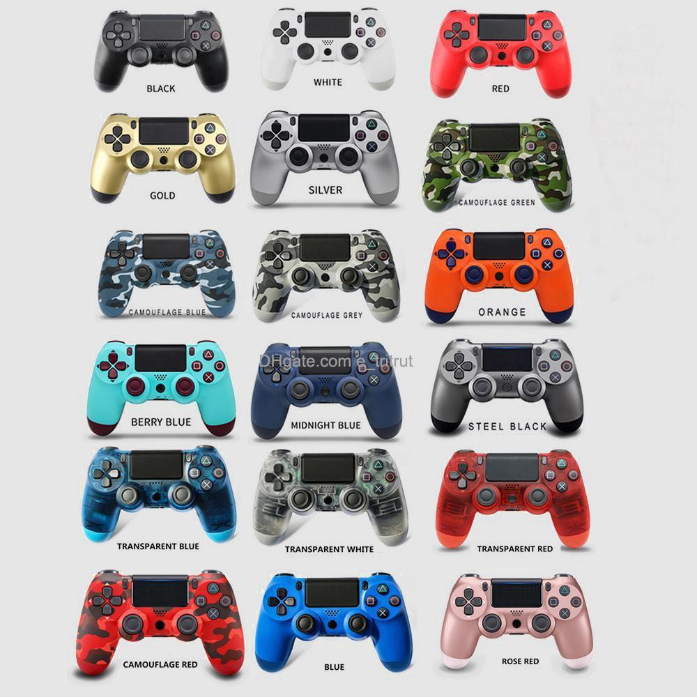 PS4 Kablosuz Kontrol Joystick Şok Konsolu Kontrolörleri Sony Playstation için Renkli Bluetooth Gamepad Oyun İstasyonu 4 Perakende Ambalajlı Titreşim