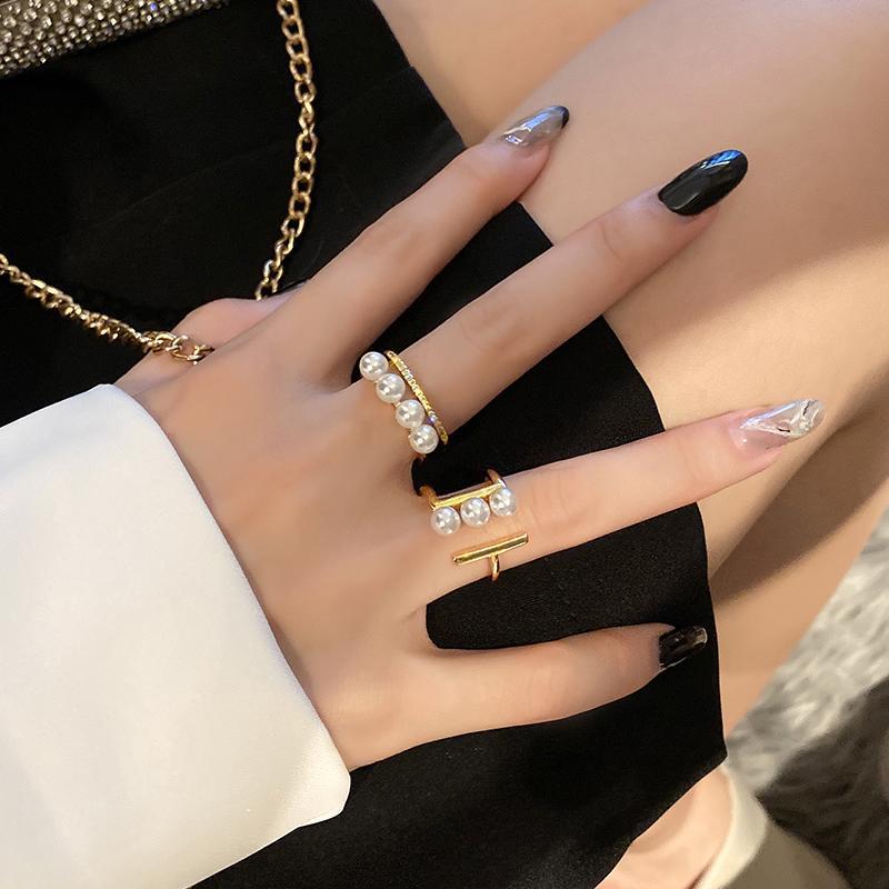 2021 Anillos de apertura geométrica de oro elegante de perla para mujer de moda joyería coreana gótico fiesta chicas inusual anillo de lujo