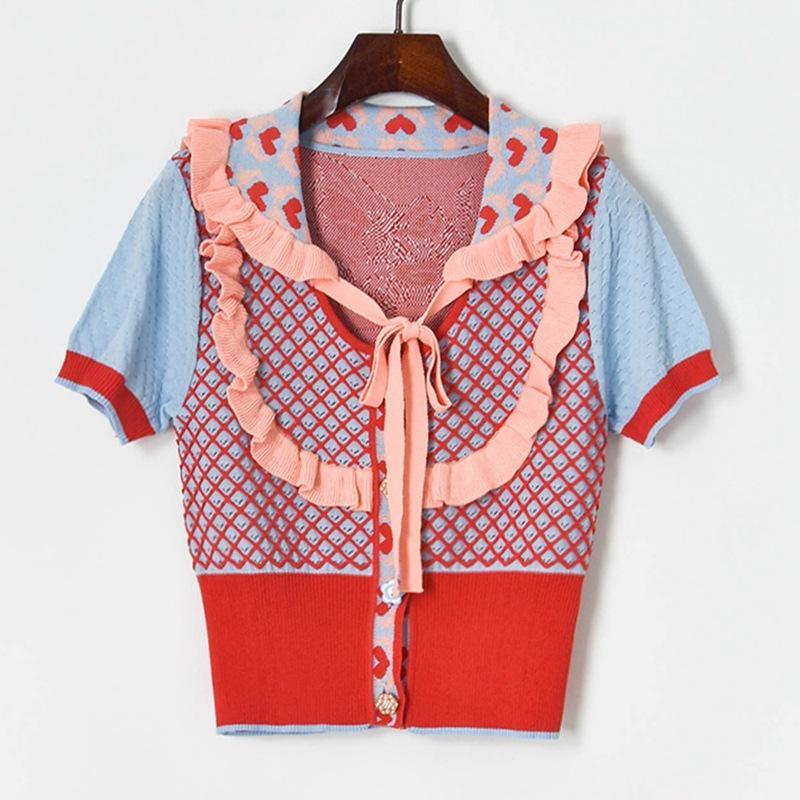 Nouveau Design Femme Automne Eté Peter Pan Collier Collier Mignon Volants Patchwork Coeur Coeur Jacquard T-shirt T-shirt Tees Sweater Cardigan SML SML