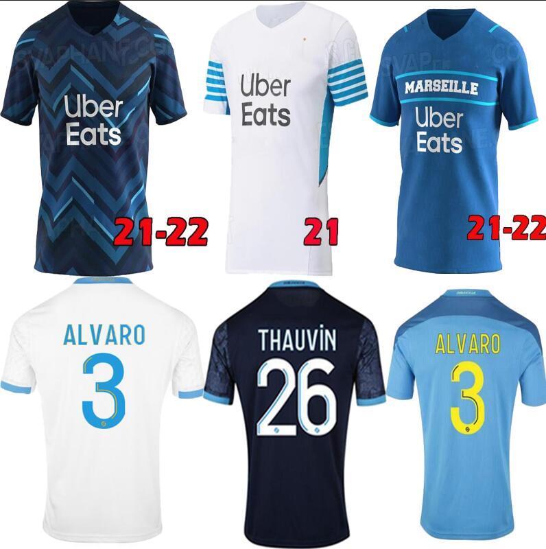 마르세유 축구 유니폼 Olympique DE 20 21 OM 2021 2022 Maillot Foot Cuisance Thauvin Benedetto Kamara Payet 축구 셔츠 남성 키트