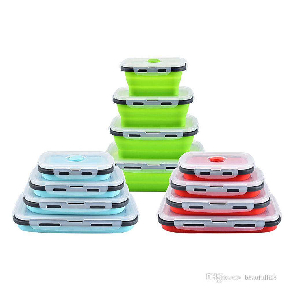 電子レンジを入れることができる折りたたみ式シリコーン弁当箱のピクニックバケット折りたたみ鮮明な食品収納容器
