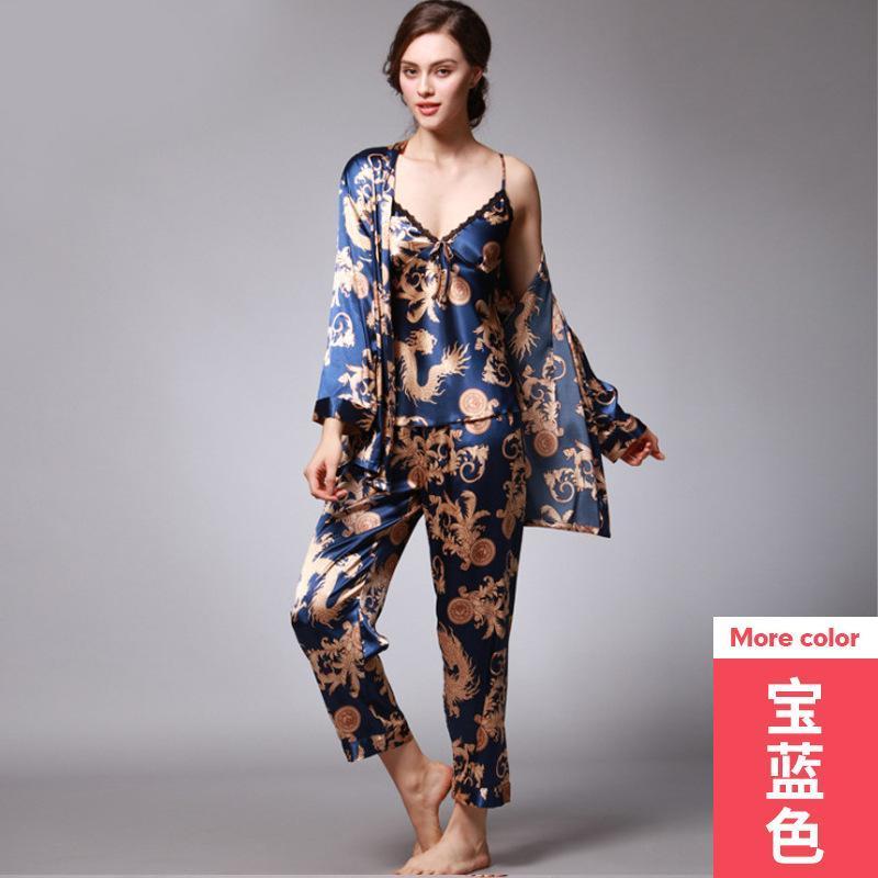 Pijamas de Seda de Três Pijamas Primavera e Verão Dragon Robe Impresso Ice Home Service Sleepwear