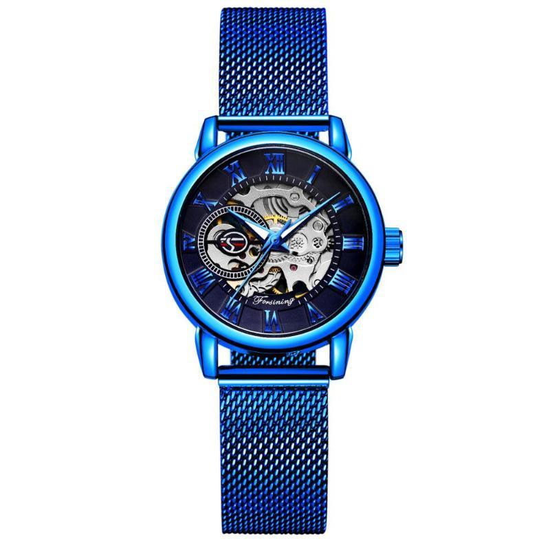 Relojes azules elegantes azules esqueleto reloj de pulsera mecánica Simple Casual Damas Reloj Zegarek Damski 2021 Relojes de pulsera