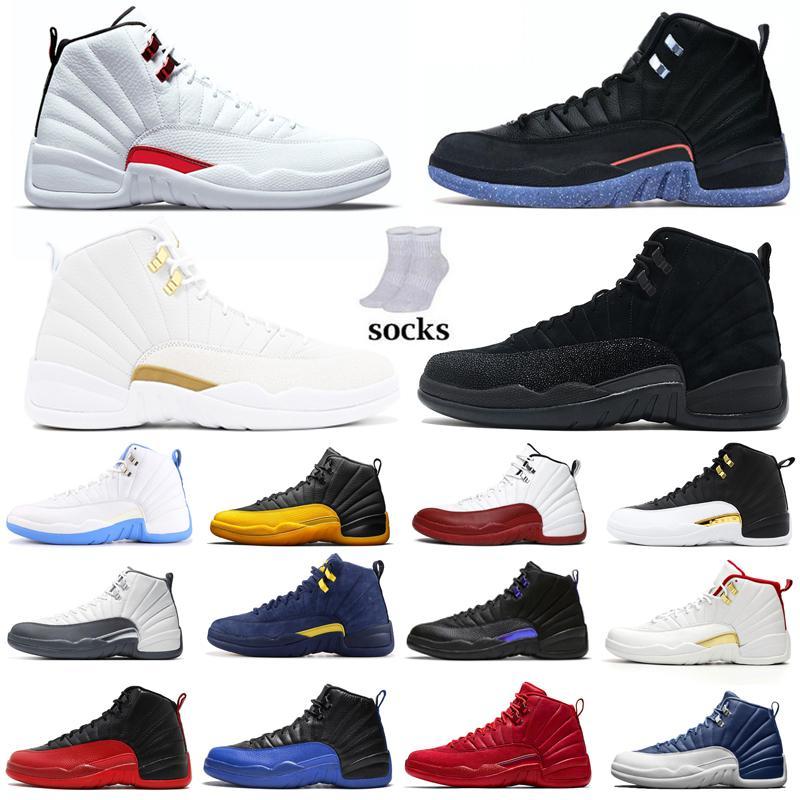 12 Air Ürdün Retro Basketbol Ayakkabıları 12 S Jorden Erkek Spor Sneakers Üniversitesi Oyunu Kraliyet Lagün Pulse Michigan High Trainers ile çorap