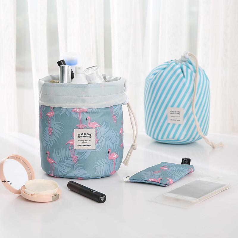 برميل شكل المرأة السفر حقيبة مستحضرات التجميل عالية السعة الرباط أنيقة طبل غسيل أكياس flamingo مطبوعة ماكياج المنظم تخزين owd9859