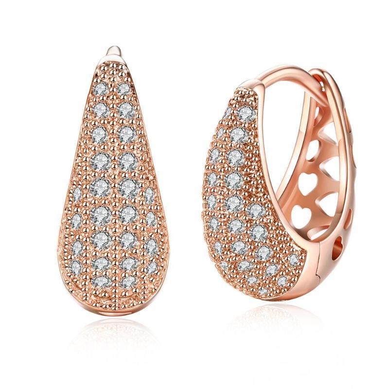 Clip-On-Schraube Rücken 2021 Silber Rose Gold Farbe Zirkon Clip Ohrringe Frau Mode Party Schmuck Top Qualität Tropfen