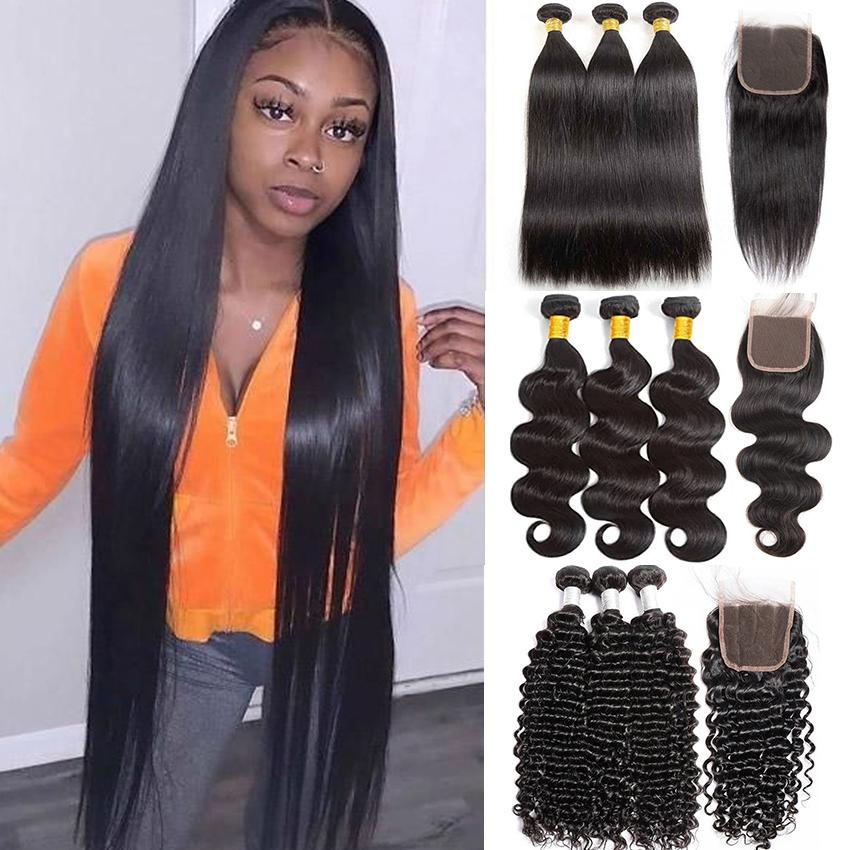 30 Inch Straight Human Hair Bundles With Closure Frontal Brazilian Body Wave Kinky Curly Deep Water Yaki Loose Ylove Virgin Remy Natural Color Weave Extension