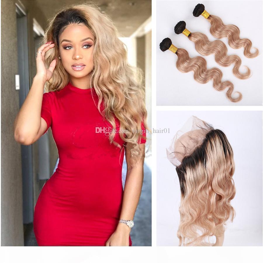Two Tone Menschliches Haar 3 Bündel mit Honig blonde 360 Spitze Frontal Verschluss 1b 27 Erdbeer Blondine Brazilianisches Reines Haar mit 360er Schließung
