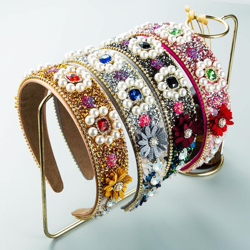 Luxury Baroque Color Pearl Rhinestone Headband Fashion Hair Accessories Women Flower Alloy Chain Hairband Boutique Hair Hoop New