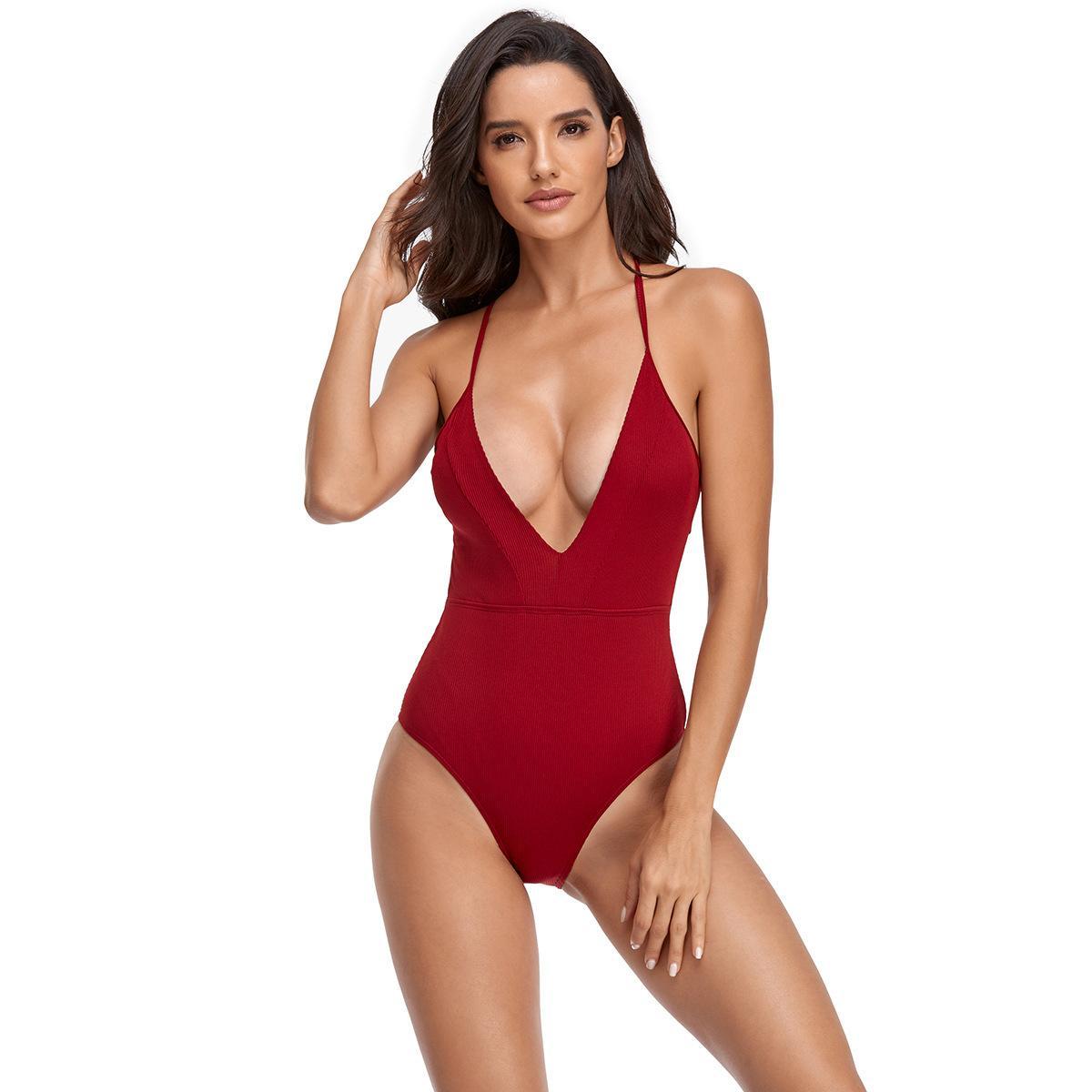 2021 una pieza sexy color sólido triángulo traje de baño bajo corte abierto encaje hacia arriba moda traje de baño de moda