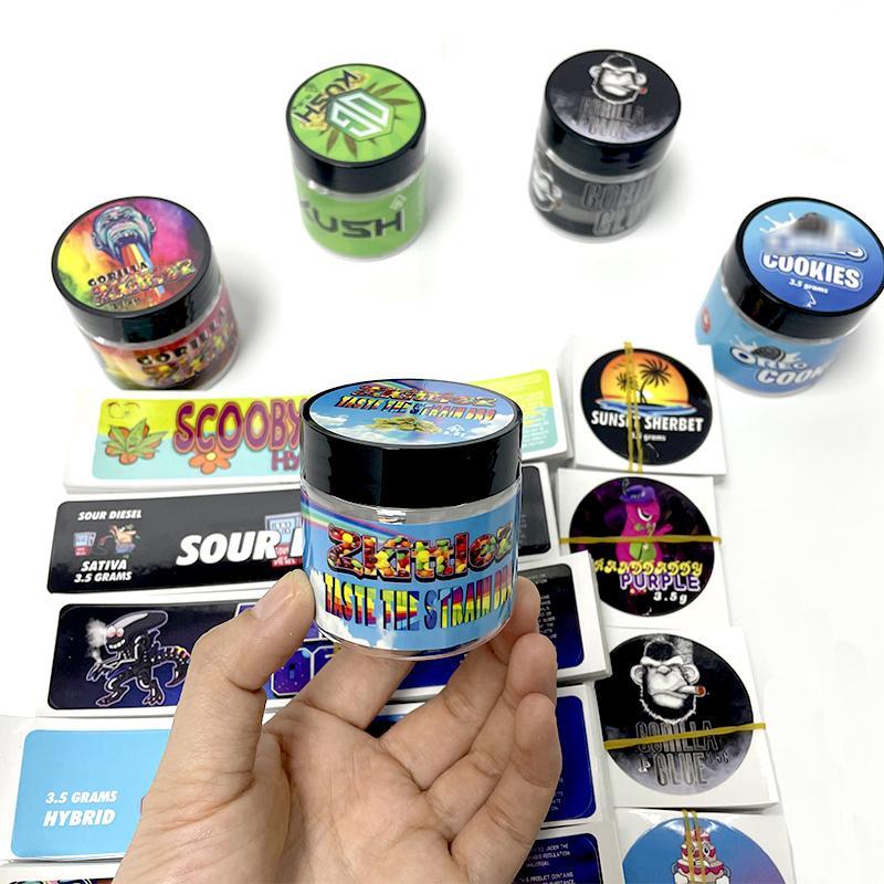 Svuoti 60ml 3.5g Autoadesivo della bottiglia di plastica Gorilla Glue Vasetti con adesivi Cancella Pet Jar 3.5 Etichette Jungle Boy