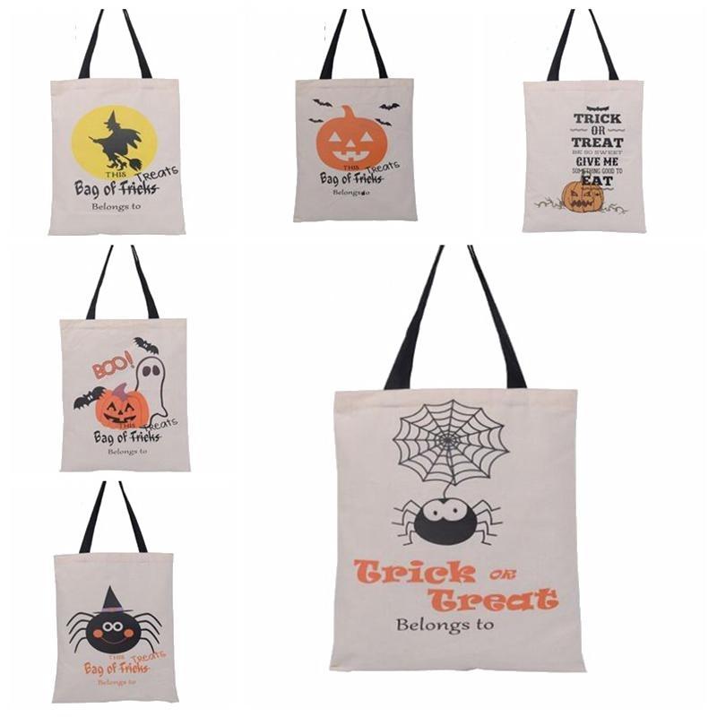 هالوين أكياس هدية كبيرة القطن قماش حقائب اليد 6 أنماط اليقطين الشيطان العنكبوت المطبوعة هالوين الحلوى هدية أكياس كيس CCF8826