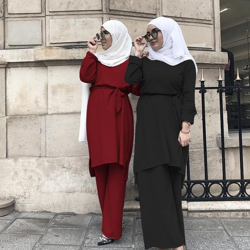 Muslimische Frauen Trainingsanzüge 2Pecs Sets Breite Beinhosen Dubai Arabische Bluse Lace Up Abaya Ramadan Party Türkei Afrikanische Eid Islamic