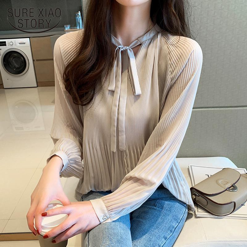 Frauen Blusen Hemden Herbst Kleidung Blusas Mujer de Moda 2021 Damen Tops für Frauen Bogen Langarm Solid Office Lady 6177 50