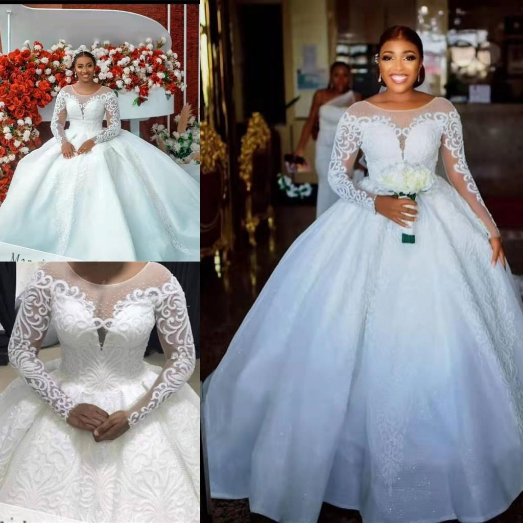 Luxury Beaded Ball Gown Wedding Dress For Women 2021 Long Sleeves Lace Princess Bridal Dresses Sheer Neck Embroidery Appliques Satin Train Vestido De Noiva Plus Size