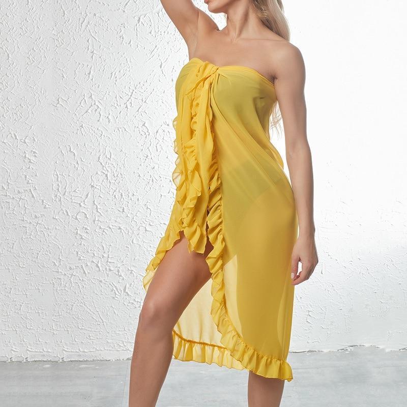 Donne Ruffles Sarong Bikini Cover Up Beach Gonna Chiffon Wrap Gonne Swimwear Fashion Ups Beachwear 2021 Costume da bagno Donna