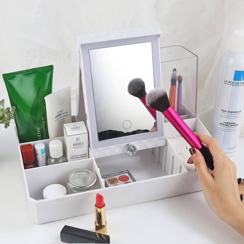 Espelhos compactos LED Touch Screen Makeup Espelho Cabana de Armazenamento Cosmética USB Carregando Desktop Desktop Iluminação
