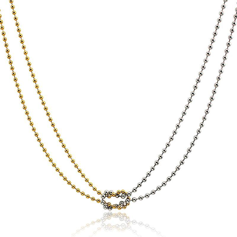 Mode Classical Link Collier Gold Silver Couleur Chaîne Two-Couche Bijoux longs Chaokers