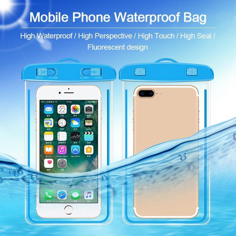 الصيف العالمي الهاتف المحمول حقيبة الجافة للماء مربع PVC الهاتف المحمول الغوص حقيبة حماية السباحة مع البوصلة