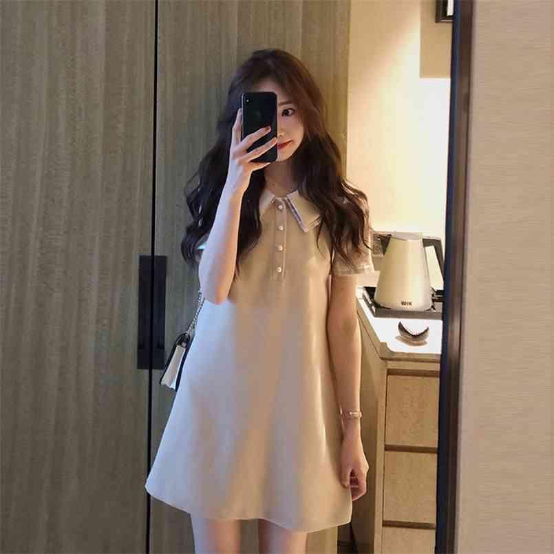 플러스 사이즈 여름 셔츠 드레스 저녁 여성 빈티지 파티 대형 짧은 소매 비치 여성 Es Robe Vestido Prom 210423