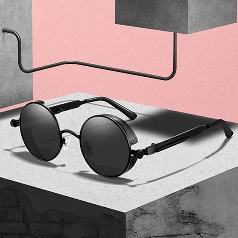 Солнцезащитные очки Classic SteamPunk Мужчины Женщины Ретро Готический Круглый Круглый Очки для мужчин Мода Металл Вождение Goggle UV400