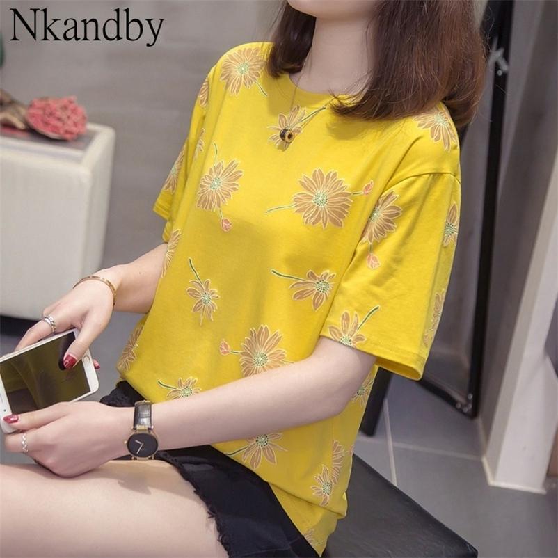 Плюс размер цветочные печати Top Teers Женские летние повседневные свободные с коротким рукавом Корейский стиль футболки женские негабаритные модные одежды 210320