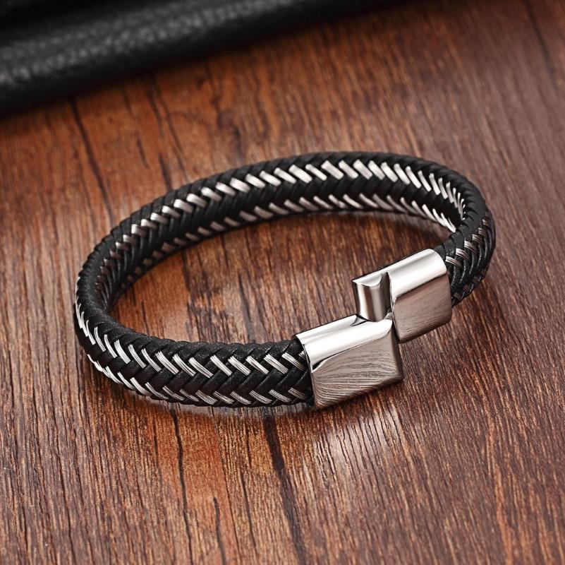 Charm Bracelets XQNI Cross Braided Bracelet Black/Steel Clasp 6*12MM Wrap For Men Stitching Genuine Leather Pulsera Hombre