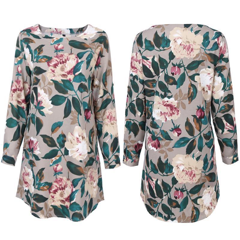 Chemise de robe féminine de style pastorale de mode imprimante multicolores occasionnel robes à manches longues vacances Mini