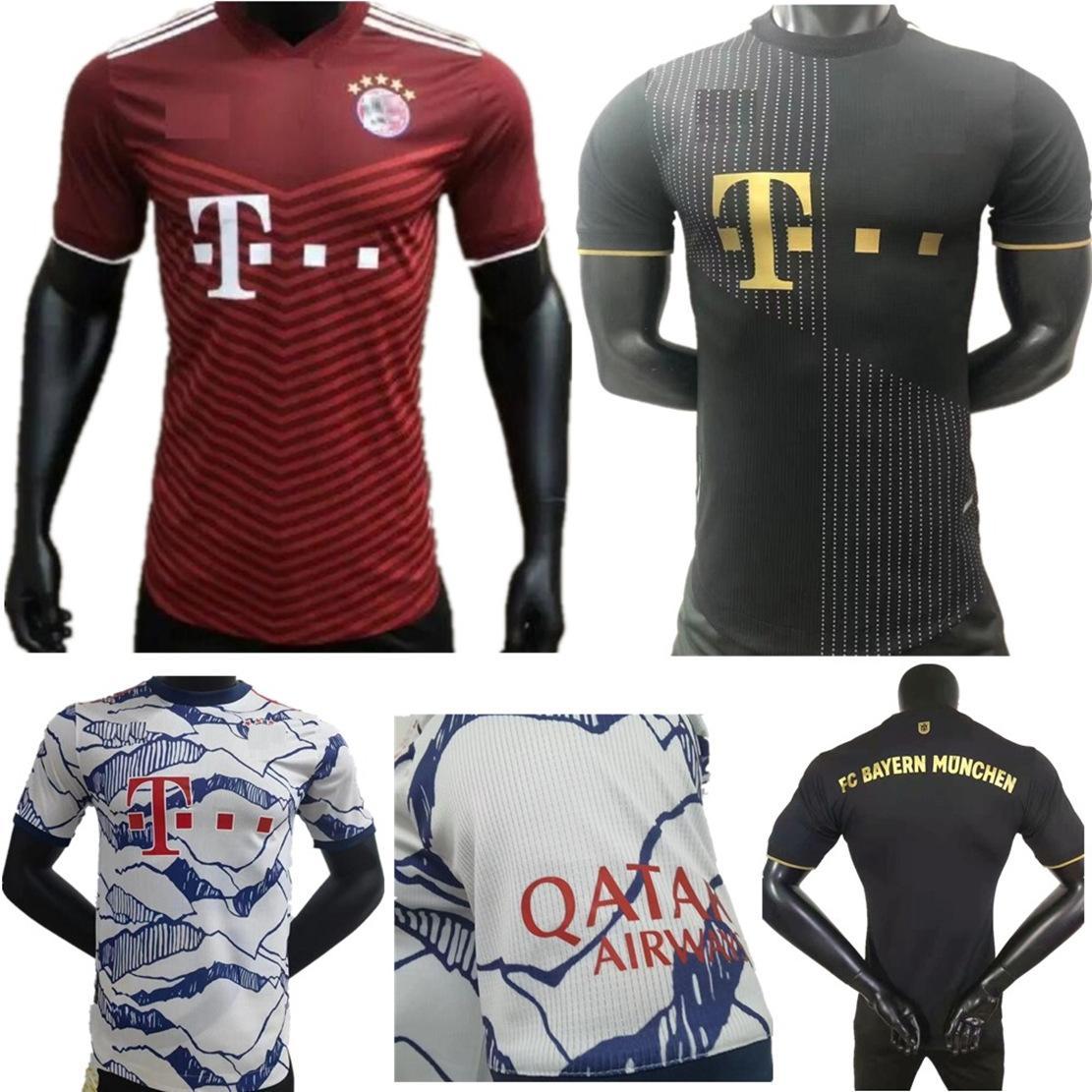 2021 Bayern 성인 남성 선수 버전 축구 유니폼 뮌헨 ribery hummels jerseys 2022 Vidal Lewandowski Muller Sane 21 22 홈 멀리 3 축구 유니폼