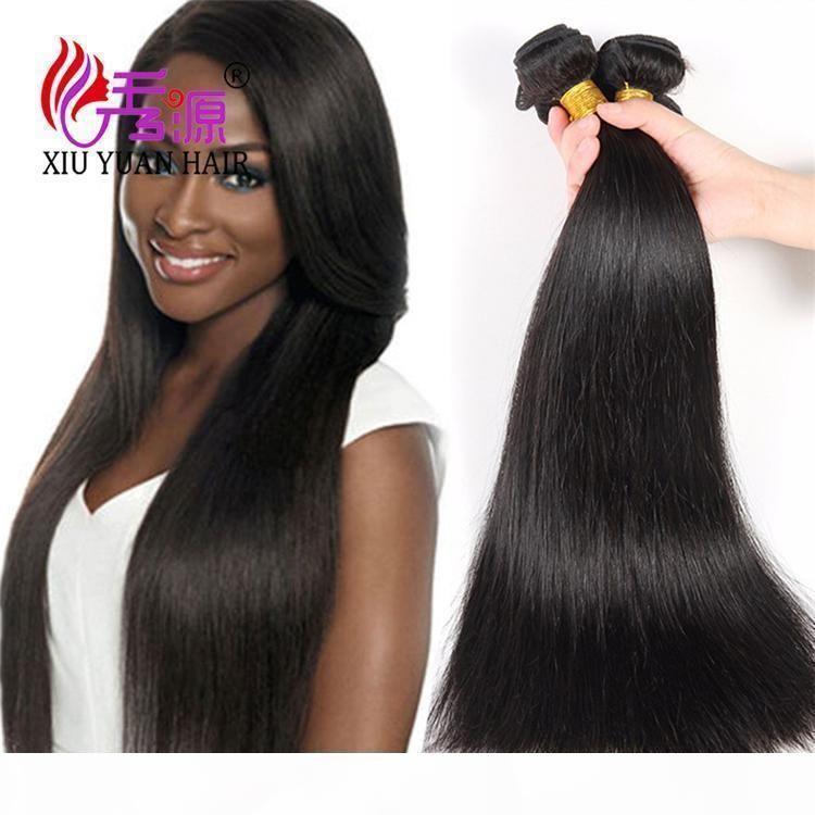 Cutícula alineada 100 paquetes de cabello humano virgen sin procesar XIUYUAN COLOR NATURAL DE NATURALES Brasileños Virgen Remy Remy Pelo humano Extensiones de trama