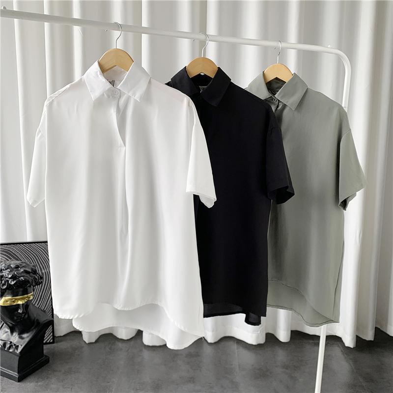 Sommer Kurzarm Hemd Herrenmode Grün Schwarz Weiß Lässige Männer Koreanische lose Pullover Herrenkleid M-3XL Hemden