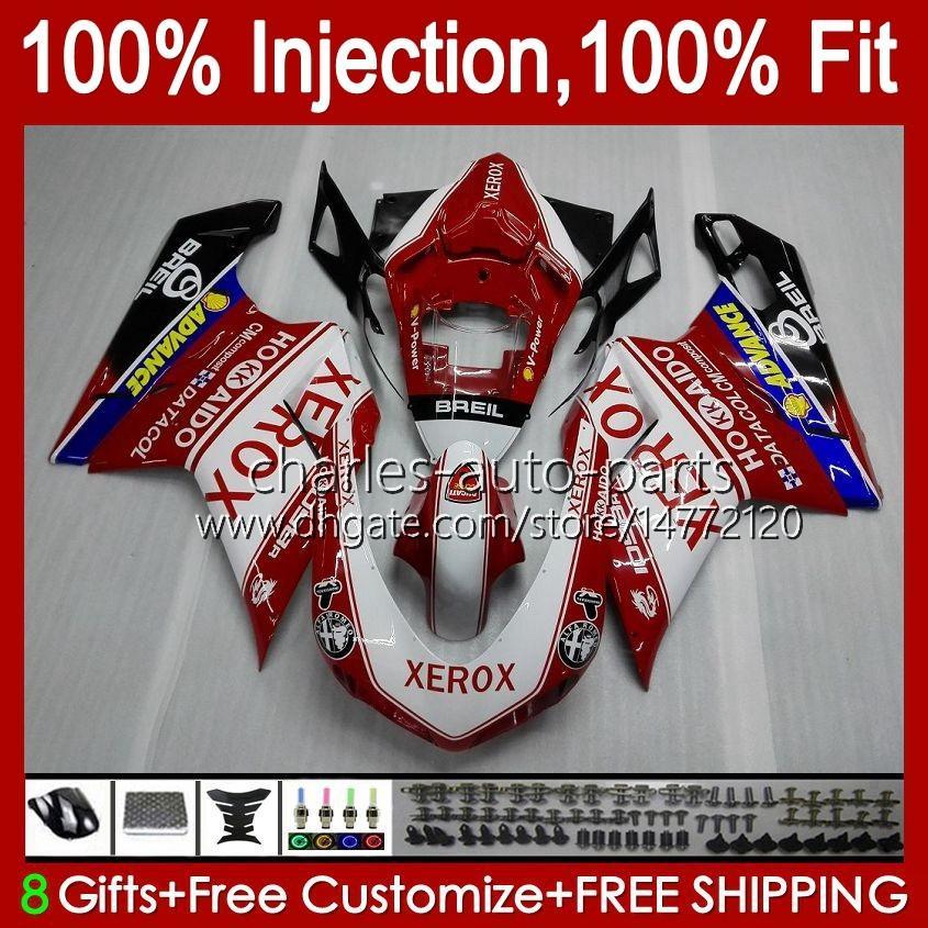 Carrosserie voor Ducati 848 1098 1198 S 07 08 09 10 11 848r 1098R 75hm2 Red White 848S 1198R 1098S 1198S 2007 2008 2009 2010 2011 Fairing Kit