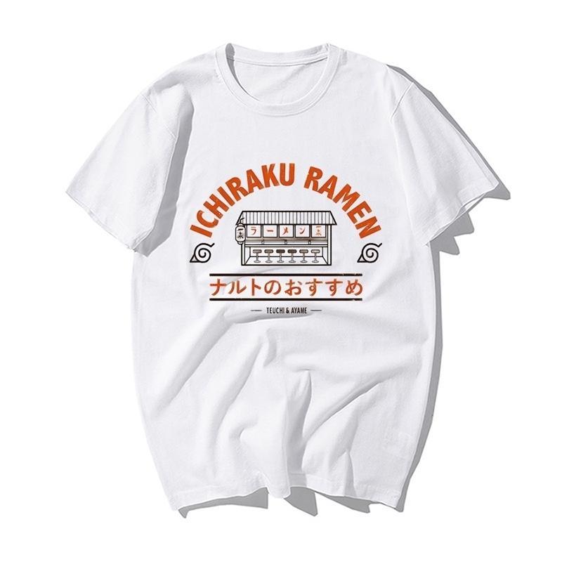 Divertente Naruto Giapponese Anime T Shirt Fashion Naruto Uzumaki Ichiraku Ramen Stampa Tshirt uomo estate cotone hip hop tshirts 210319
