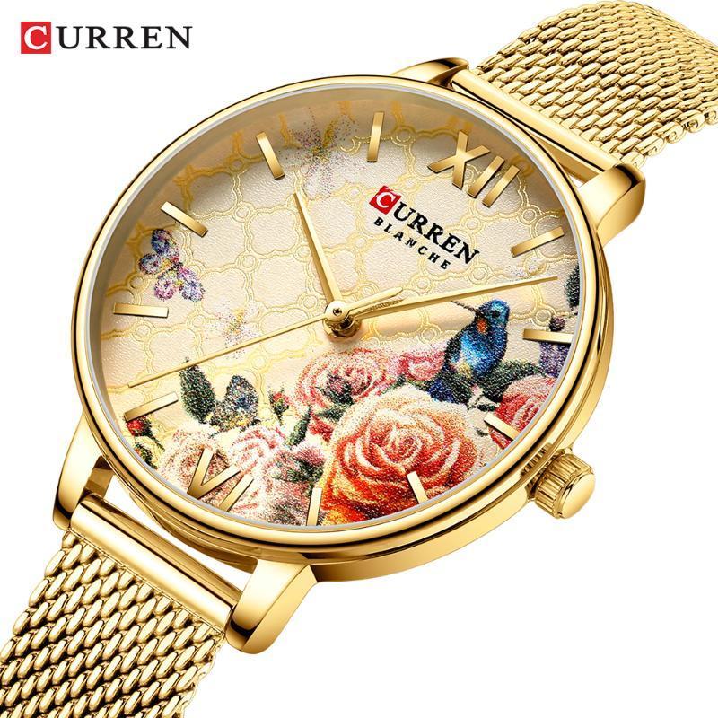 Ver relojes de oro Mujeres de cuarzo de cuarzo pulsera de acero inoxidable damas clase de pulsera con clase mujer reloj de pulsera de reloj de reloj