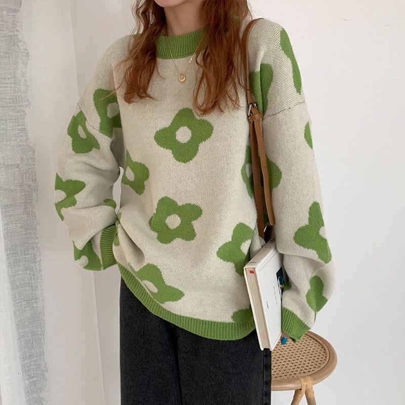 Flor de las señoras de punto casual suelta manga larga coreana suéter de otoño e invierno