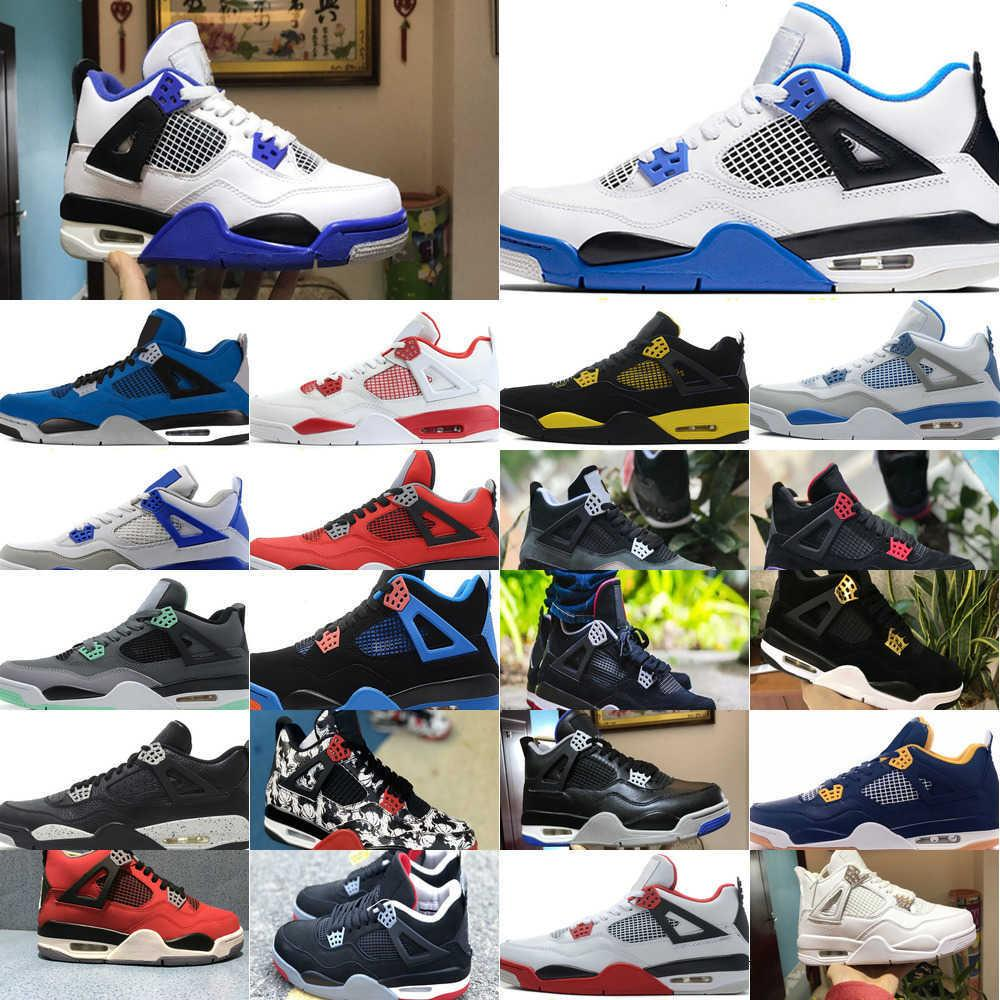 Siyah 4s Travis Scotts Erkek Basketbol Ayakkabı UNC Beyaz Çimento Rasta Retroes 4 Jumpman Kışlık Sadık Mavi Mantar Sneaker Ucuz 19