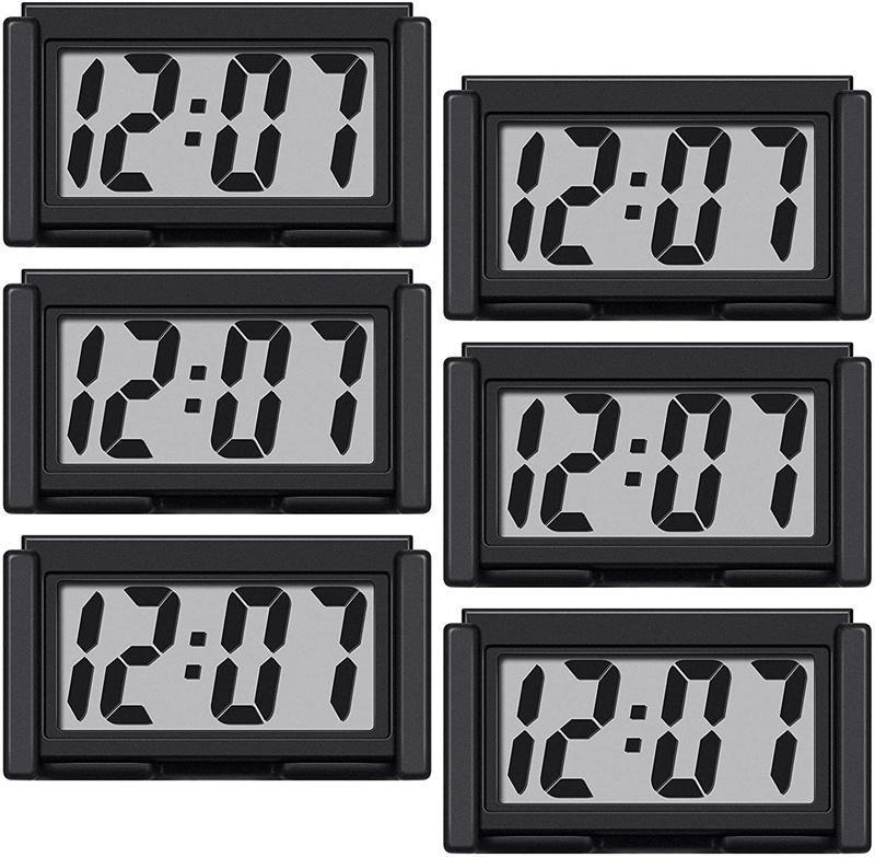 벽시계 6pcs 미니 자동차 시계 자동 트럭 대시 보드 시간 편리한 내구성 자기 접착 브래킷 차량 전자 디지털