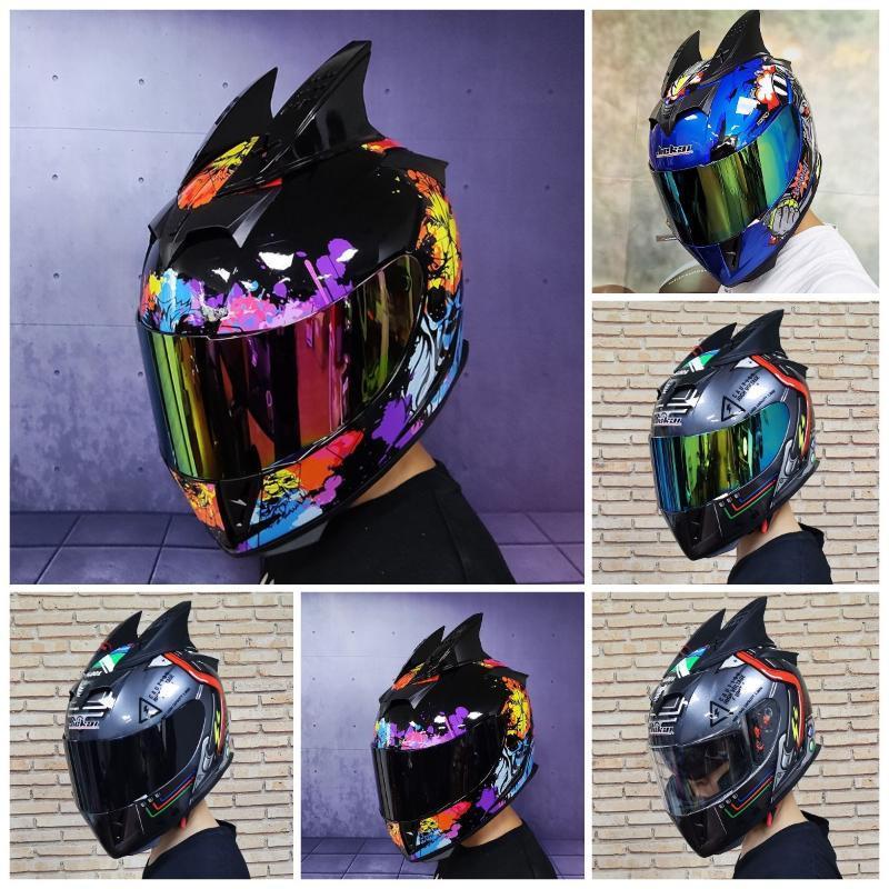 Cascos para motocicletas Casco Motocross Motocross Doble Lente Seguridad Cara Completa Moto Capacete de Casque