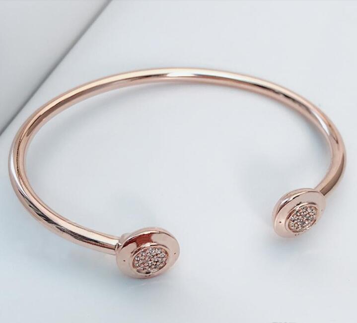 Neue Mode Unterschrift Öffnen Armreif Armbänder Original Box Für Pandora 925 Sterling Silber Manschette Armband Set Frauen Hochzeit Geschenk