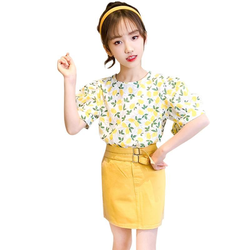 Teen Girls Summer Clothing Floral Tshirt + Short Sashes Sets Casual Style Children's Tracksuits