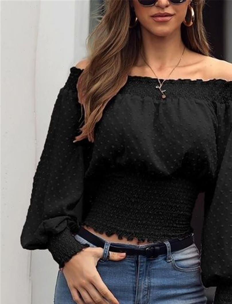 여성 셔츠 여성 블라우스 어깨 긴 소매 셔츠 패션 우아한 캐주얼 느슨한 블라우스 탑 Femenina Blusa