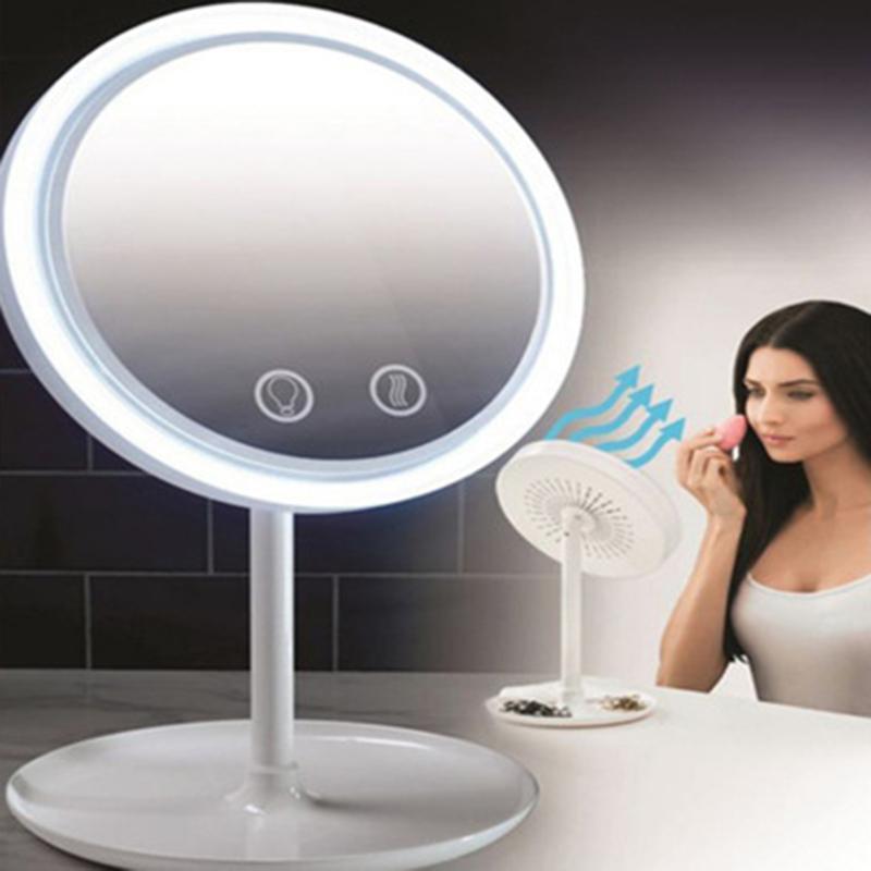 Espelhos compactos 3-em-1 Espelho de maquiagem de ventilador LED com suporte destacável Lightweight Portátil Desktop Cosmetic SMJ