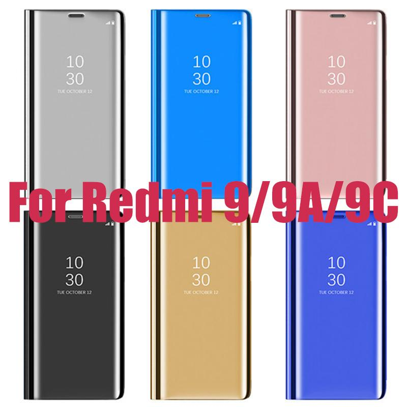 100pcs 스마트 플립 클리어 뷰 미러 Xiaomi Redmi 노트 9 9A 9C 9S 8 8A 8T 10X K30에 대 한 스탠드 케이스 가죽 보호 커버