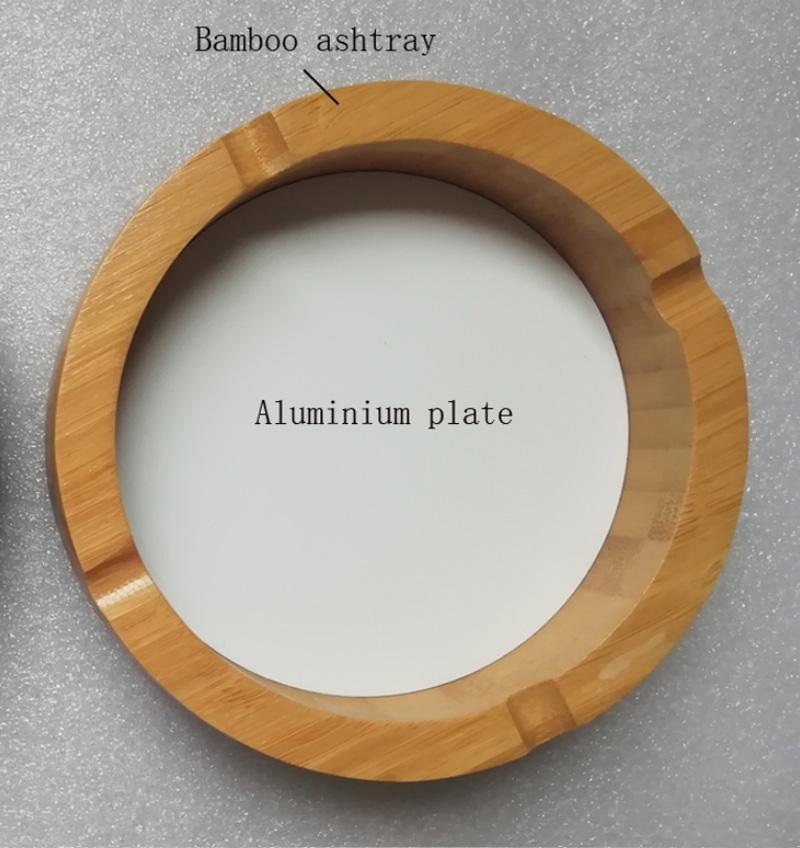 Bamboe asbak met lege sublimatie aluminium plaat invoegen 10 stuks / partij